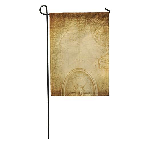(Semtomn Garden Flag Blue Bronze Aged Antique Nautical Compass and Old Map Pirate Home Yard House Decor Barnner Outdoor Stand 12x18 Inches Flag)