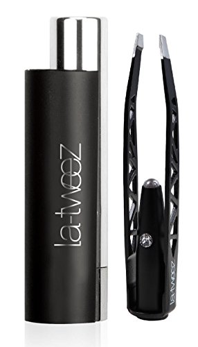 Illuminating Tweezers (LaTweez Pro Illuminating Tweezers with Lipstick Case, Black, 0.5 Pound)