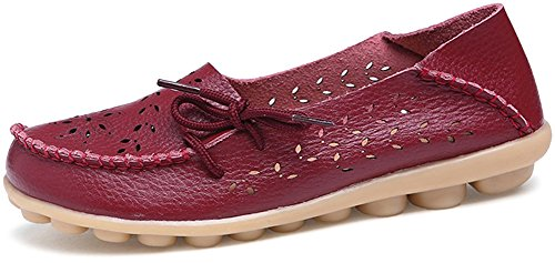 Fangsto Women's Floral Leather Slipper Loafer Flats Shoes Slip-ONS Sty-2 Burgundy