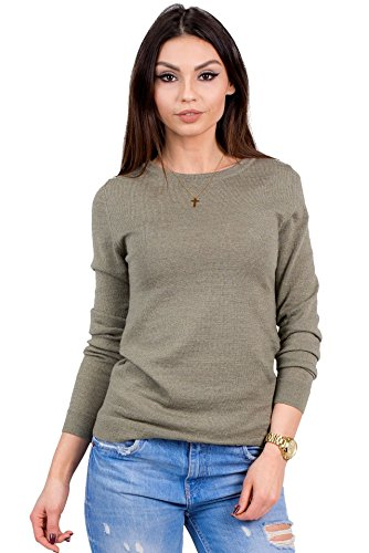 (Women's Pure Merino Wool Classic Knit Top Lightweight Crew Neck Sweater Long Sleeve Pullover (Medium, Olive))