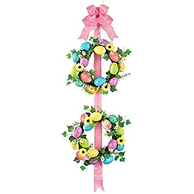 Double Easter Egg Wreath with Ribbon, Plastic, Rattan