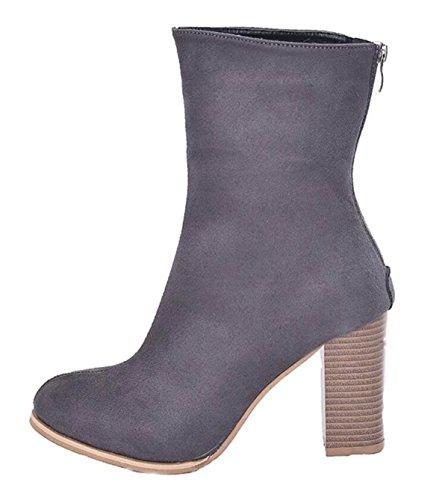 Tacco Punta Da LINYI Faux Con Boots Gray Elasticity Punta Stivali Fur Stivali Con A Donna Short qzzgBxEtw