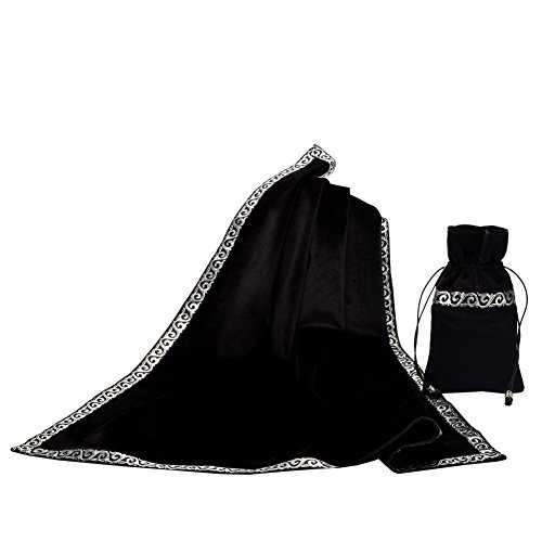- BLESSUME Altar Tarot Table Cloth Divination Wicca Velvet Cloth with Tarot Pouch Black