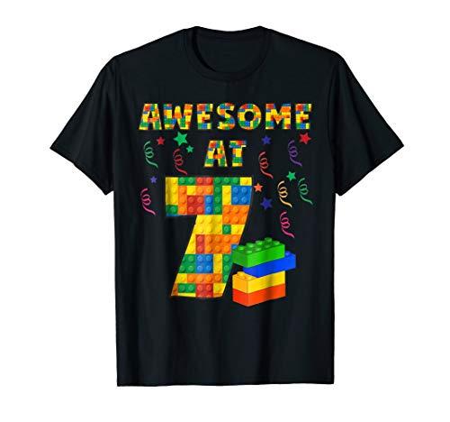 Shirt Boys Birthday (Birthday Shirt For Kids 7 Building Blocks Bricks Theme Party)