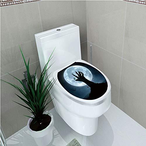 Toilet Custom Sticker,Halloween Decorations,Zombie Earth Soil Full Moon Bat Horror Story October Twilight Themed,Blue Black,Diversified Design,W12.6