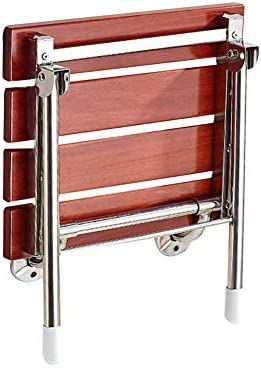 バスルームシャワーバスシートウォールマウントドロップリーフスツール90°折りたたみ式デザイン、スペースを節約強力なサポートウォークウェイチェア折りたたみシャワーベンチシート、木製素材折りたたみシャワーシートは、親に高齢者の思いやりのある贈り物を与える (Color : Brown)