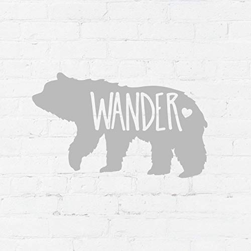 Wanderlust Wander Decal Stickers | For Car Laptop Yeti Cup Tumblers | Light Gray 2.5 x 4 inches