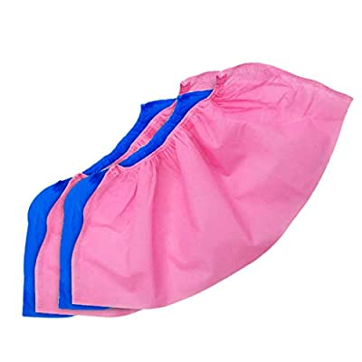 Hurrybuy 100 Pack (50 Pairs) Disposable Boot & Shoe Covers - Durable, Water Resistant, Non-Slip,Dust-Proof,Recyclable Blue and Pink: Clothing