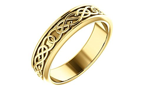 - FB Jewels 14K Yellow Gold 5mm Celtic-Inspired Wedding Ring Band Size 7