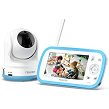 TENKER Digital Sound Activated Video Record Baby Monitor with 4.3-Inch Color LCD Screen, Remote Camera Pan-Tilt-Zoom, Lullaby, Night Vision, Two Way Talk, Audio Only Mode