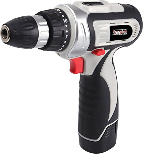 X-Power Tools-Lithium Cordless Drill with Accessories- 12 Volt- Rechargeable 1300mAh Battery by X-Power Tools