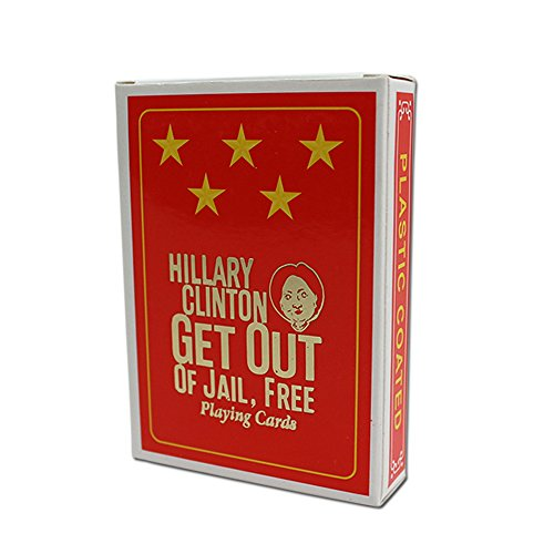Hillary Clinton Playing Cards - Hillary Clinton Get Out of Jail Free Cards - Five Star Plastic Coated Playing Cards - Hillary Clinton gag gifts - Funny Political Gag Gifts by Gears Out