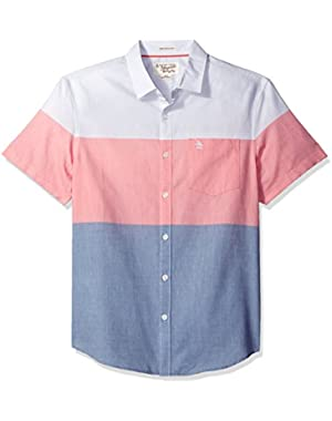 Men's Short Sleeve 3 Color Engineered Stripe Lawn