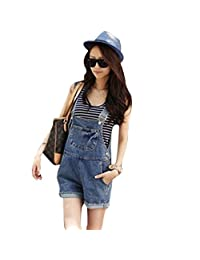 Women Juniors Washed Jeans Denim Casual Hole Jumpsuit Romper Overall Short