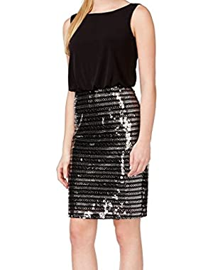 Calvin Klein Women's Sequined Stripe Blouson Dress Black 6