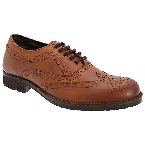 Roamers Herren Weiche Leder Brogue Oxford Schuhe Tan