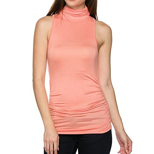 1f4dc81ae37 Sleeveless Turtleneck Shaping Shirt Tank Top (Small, Peach). by kuda moda