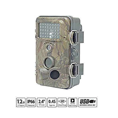 (QLPP Trail Game Camera,12MP 1080P Waterproof Hunting Camera,2.4 inch TFT Color Monitor,42 pcs IR LEDs,120°Detecting Range,for Wildlife Monitoring)