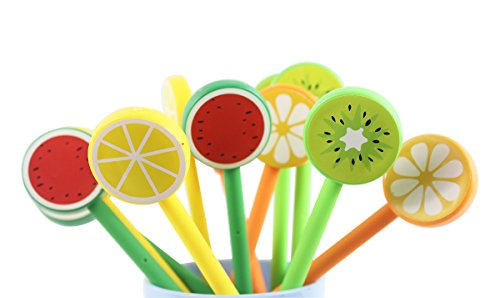 Fresh fruit creative cartoon Rollerball Gel Ink Refill Pen Set,A group of 12,Random Color