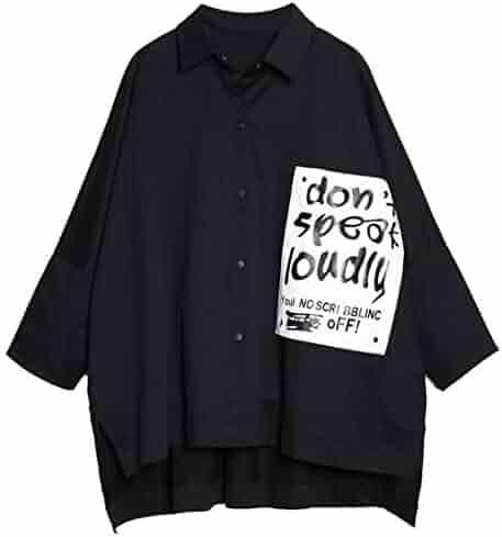 3294cfe7 IBEXMAN 2018 Autumn Letter Bat Sleeve Short Black Coat Loose Thin Shirt