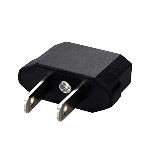 ❤️Jonerytime❤️Voberry 2pcs European to American Outlet Plug Adapter EU to US Adapter Black