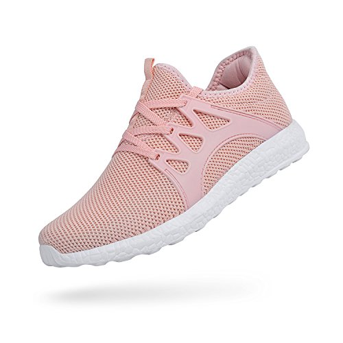 02c79236937ed Feetmat Womens Running Shoes Mesh Lace Up Non Slip Comfortable Sneakers  Pink 8