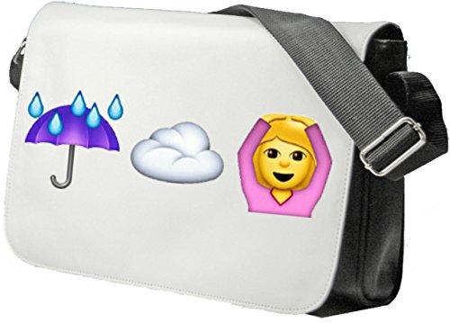 """Schultertasche """"Regen (schirm) und Wolke ist gleich Hände über dem Kopf haben"""" Schultasche, Sidebag, Handtasche, Sporttasche, Fitness, Rucksack, Emoji, Smiley"""