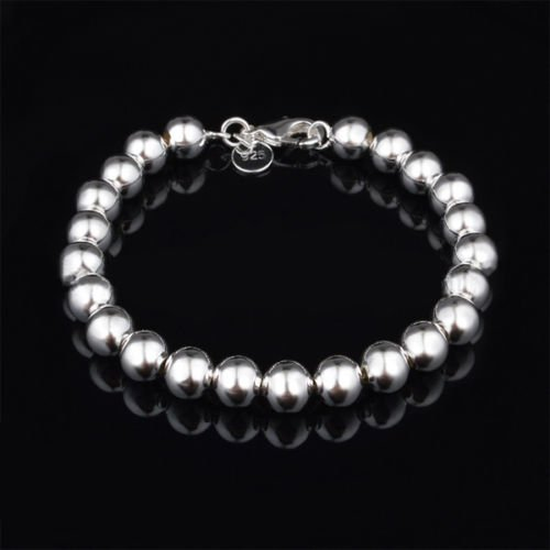 Women Jewelry Bracelets Silver Plated Beads