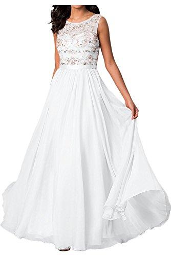 Aus Steine Chiffon Hell A Rock Chiffon Ballkleider Abendkleider mia Gruen Linie Weiß mit Partykleider Damen Formalkleider Braut La XOxnawqfX