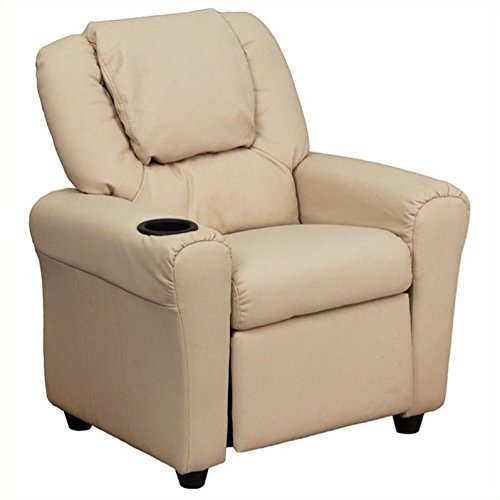 (Flash Furniture Contemporary Beige Vinyl Kids Recliner with Cup Holder and Headrest)