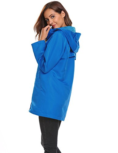 Del Pioggia Lunga Casuale Giacca Blu2 Donne Con Cappotto Nuove Manicotto Di Cappuccio Delle Coorun U0IqwEU
