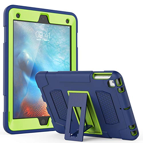Lokass iPad 6th Generation Case,iPad 5th Generation Case,Shockproof High Impact Protection Plastic+Silicone Kickstand Cover Case for iPad Air/iPad 9.7 2017/iPad 9.7 2018,Navy Blue/Fluorescent Green