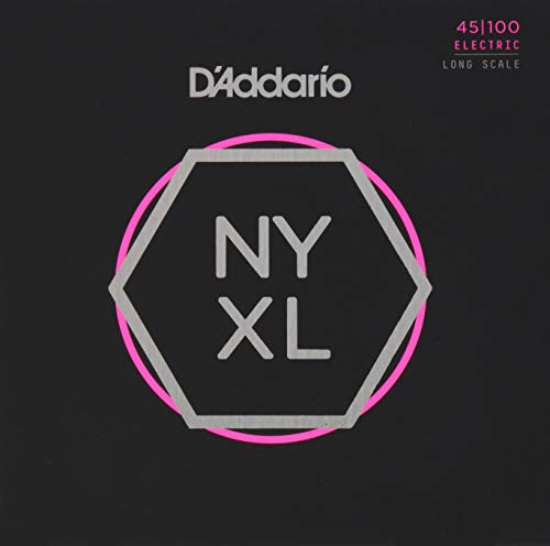 D'Addario NYXL45100 Nickel Wound Bass Guitar Strings, Regular Light, 45-100, Long Scale (Wound Regular Light Nickel)