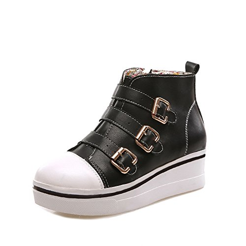Heels Low Women's AgooLar Boots Black Toe Color Closed Round Top Assorted Kitten YOCawqzx
