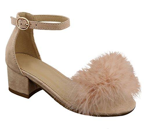 Top Cute Pink Fringe Fur Embellished Ankle Strap Round Toe Heeled Fuzzy Colorful Vegan Summer Fashion Shoe Lightweight Outdoor Sandal Sandale Graduation Basket Sale for Little Kid Girl (Size 13, Pink)