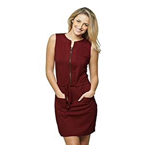 Miss Chase Women's Comfortable Round Neck Sleeveless Mini Belted Shift Dress with Pockets and Zip Closure