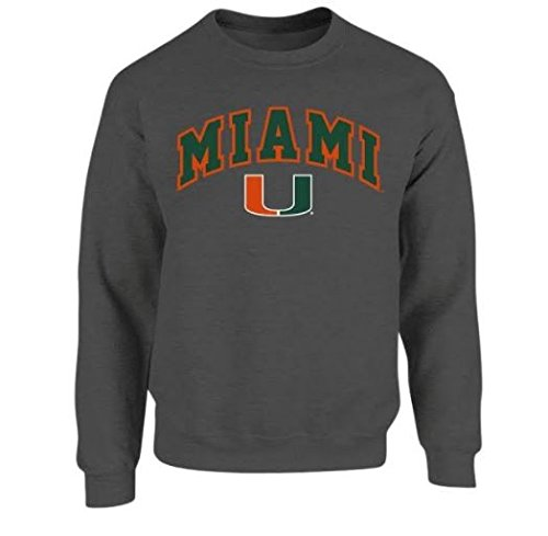 Miami Hurricanes Crewneck Sweatshirt Charcoal - XXL Miami Canes