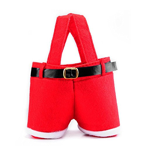 JoinPro Santa Pants Gift and Treat Bags for Red Wine Bottle Covers or Candy Baskets for Christmas Party Wedding favors (Small Size)