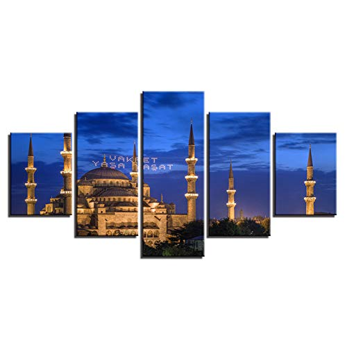 (KKJJ 5 Pieces Art Picture on Canvas Personalised 4D Printing Famous Buildings, Churches, Mediterranean Style Image/Photo/Poster - Frameless,A,80150cm)