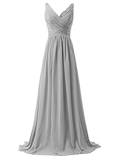 Informal Wedding Gown Long Dress - Lisianthus Women's Long Formal Wedding Gown Bridesmaid Dress Silver Gray US12