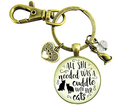 Cats Keychain All She Needed Was Cuddle Kitty Theme Pendant Gift Novelty Chic Cats Jewelry For Women -