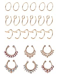 Thunaraz 24PCS Stainless Steel Fake Nose Rings Septum Ring Lip Clicker Ring Retainer Set Body Jewelry Piercing