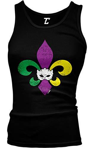 Mardi Gras Fleur De Lis - Masquerade Mask Juniors Tank Top (Black, X-Large)
