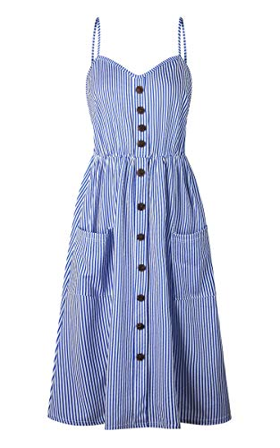 d6746606fbe1 ... Angashion Women's Dresses-Summer Floral Bohemian Spaghetti Strap Button  Down Swing Midi Dress with Pockets ...