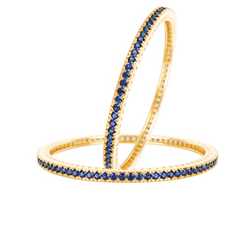 SHREEYANSH 18K GOLD PLATED OVER .925 STERLING SILVER DESIGNER BANGLE STUDDED WITH BEAUTIFUL BLUE SAPPHIRE by SHREEYANSH