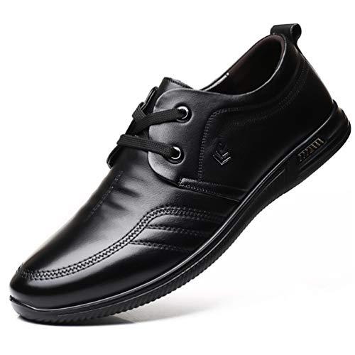 Feidaeu Herren Businessschuhe Anzugs Schuhe Weich Flach Bequeme Gummi-Außensohle Abriebfest Rutschfest Schnürhalbschuhe Schwarz