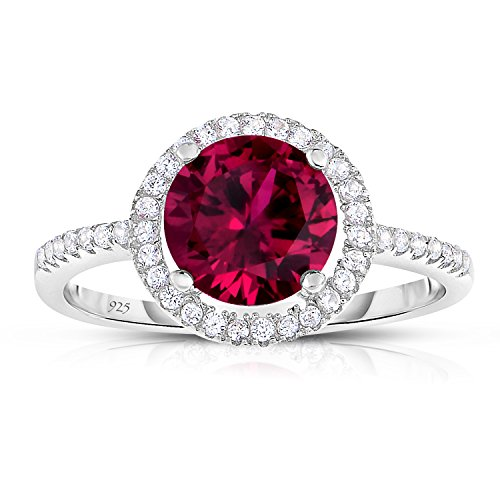 Unique Royal Jewelry Sterling Silver Created Red Ruby with White CZ Helo Jacket Princess Diana Kate Middleton Engagement Ring - Size 8 (Royal Ruby)