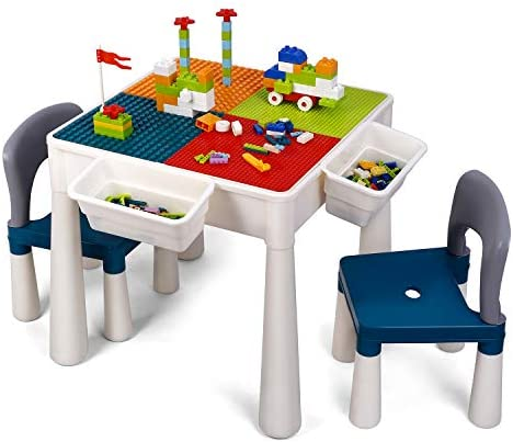 amzdeal Juego de Mesa y 2 Sillas Infantiles Mesa de Bloques para Niños Mesa de Actividades Multiusos con Bloques de partículas Grandes y Pequeños Mesa de Estudio Mesa de Comedor Mesa de