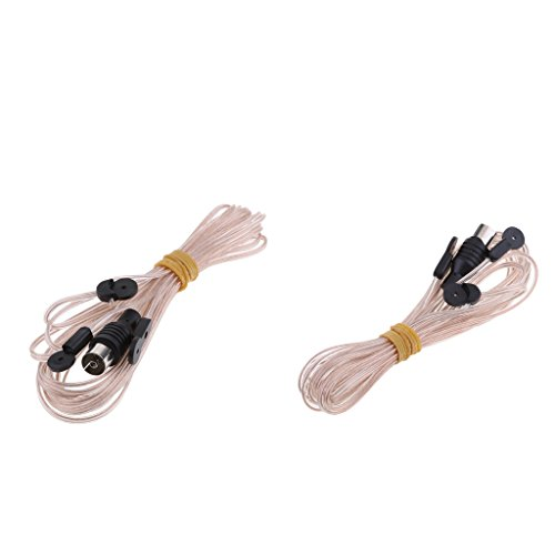 MagiDeal 2 Pieces FM Antenna Connector Aerial Dipole HD Radio Connecting Cord 75 Ohm for Stereo 3.2M Aerial Connecting Cord Cable PAL Connector by Unknown