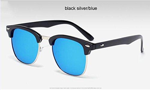 de Gafas calidad medio gafas 3016 hombre ZHANGYUSEN Negro Moda espejo sol de Remache de silverblue3016 sol de metal Negro Oro alta Oro de de clásico 5PqnxA0nU